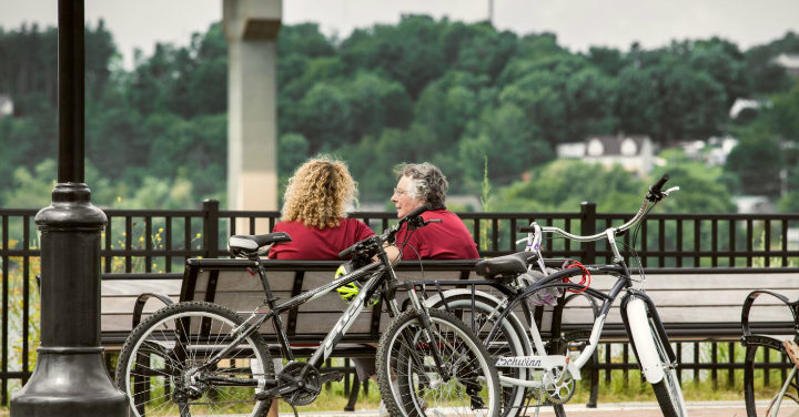 Women sitting on bench with bikes